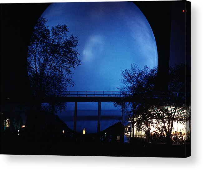 Perisphere Acrylic Print featuring the photograph The Perisphere At Night by David Halperin