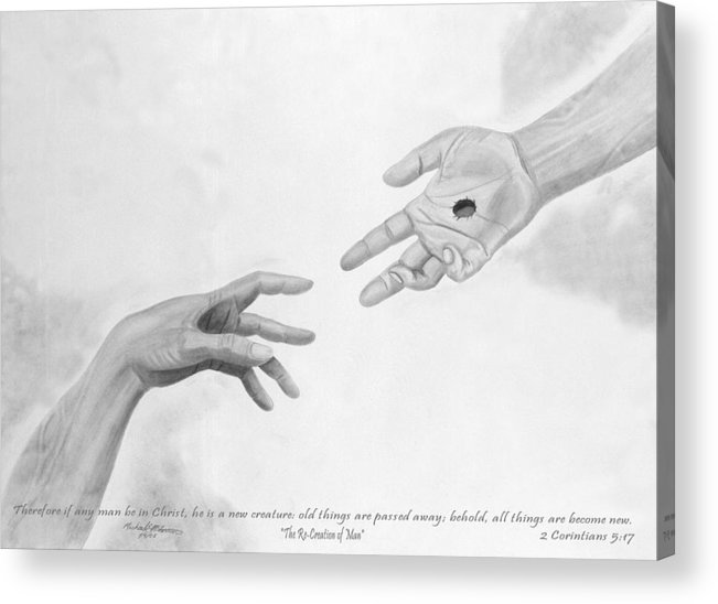 Religion Acrylic Print featuring the drawing The Re-creation Of Man by Michael McFerrin