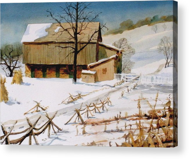Winter Acrylic Print featuring the painting The Stein Barn by Faye Ziegler