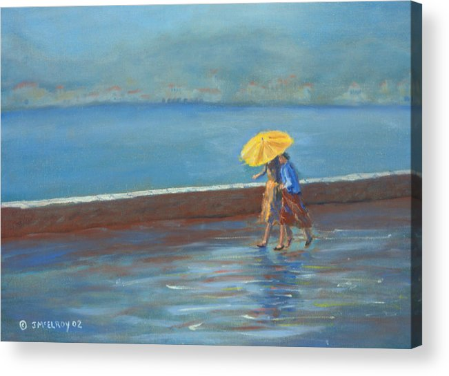 Rain Acrylic Print featuring the painting The Yellow Umbrella by Jerry McElroy