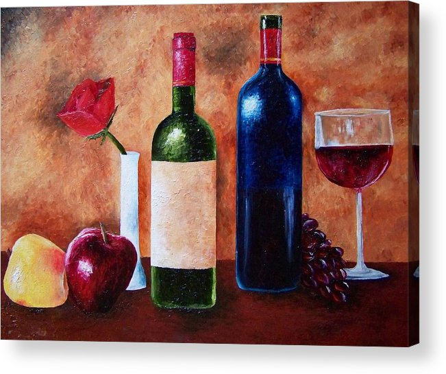 Still Life Acrylic Print featuring the painting Thicker Than Wine by Brandon Sharp