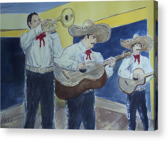 Mariachi Band Acrylic Print featuring the painting Three Amigos by Pete Maier
