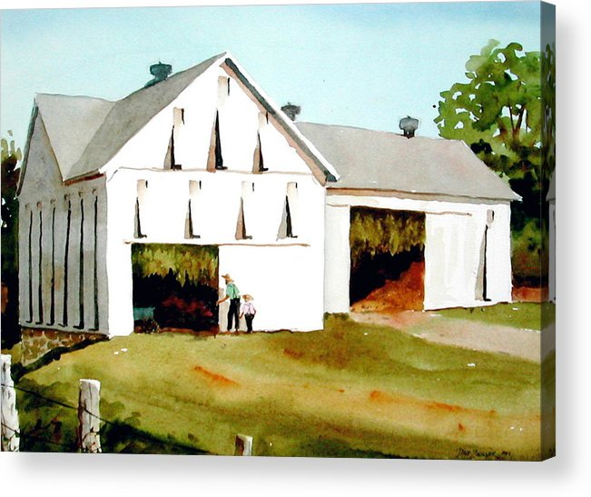 Tobacco Acrylic Print featuring the painting Tobacco Barn by Faye Ziegler