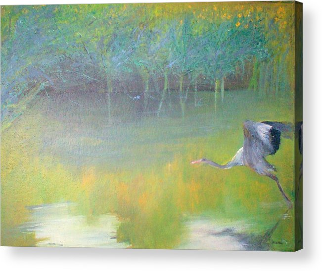 Landscape Acrylic Print featuring the painting Tranquil by Tinsu Kasai