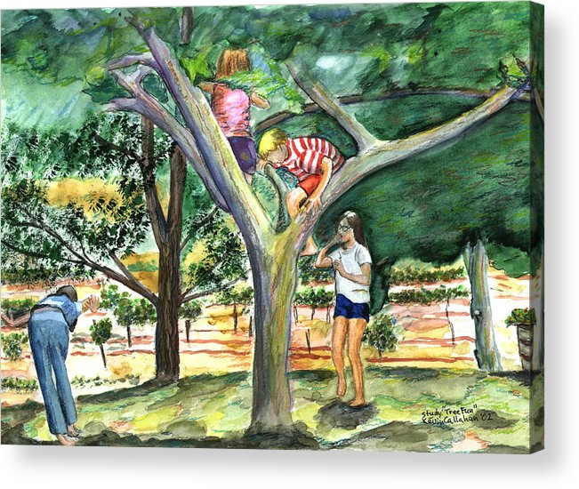 Kevin Callahan Acrylic Print featuring the painting Tree Fun Study by Kevin Callahan