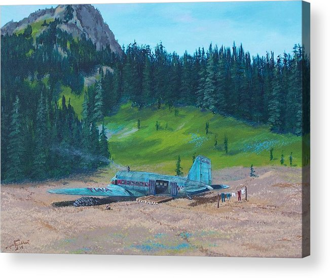 Landscape / Dc-3 Airplane Acrylic Print featuring the painting Twa Mountaintop Cabin by Gene Ritchhart