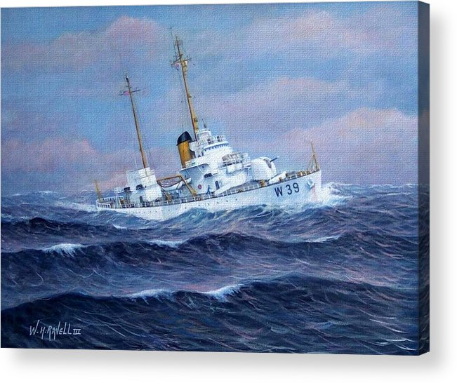 Marine Art Acrylic Print featuring the painting U. S. Coast Guard Cutter Owasco by William H RaVell III