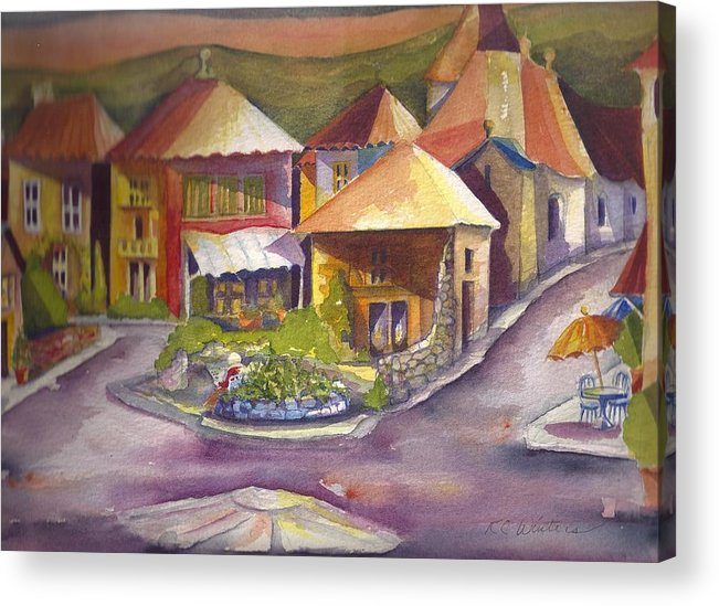 Acrylic Print featuring the painting Village Square by KC Winters