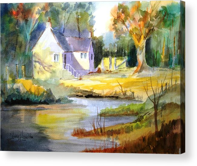 Watercolor Acrylic Print featuring the painting Wales Country House by Larry Hamilton