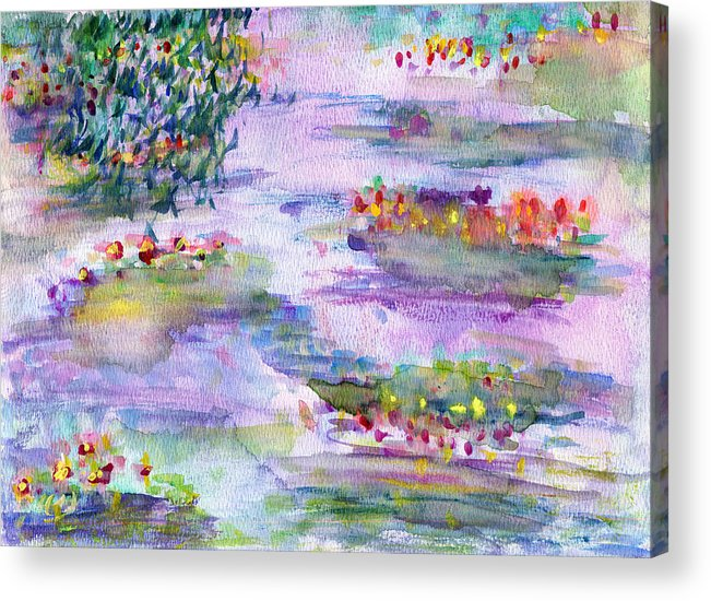 Nature Acrylic Print featuring the painting Water Lilies by Janpen Sherwood