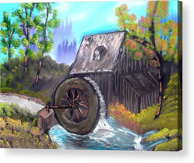 Waterwheel Acrylic Print featuring the painting Waterwheel by Sheldon Morgan
