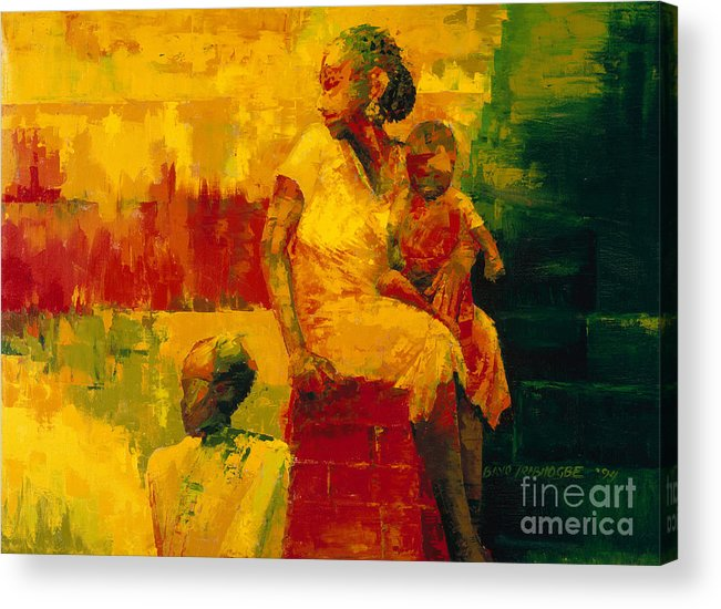 What Is It Ma? 1994 (oil On Board) By Bayo Iribhogbe (contemporary Artist) Acrylic Print featuring the painting What Is It Ma by Bayo Iribhogbe