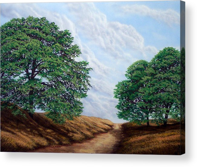 Landscape Acrylic Print featuring the painting Windblown Clouds by Frank Wilson