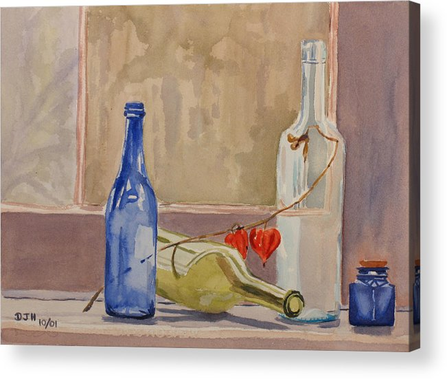 Wine Acrylic Print featuring the painting Wine Bottles On Shelf by Debbie Homewood