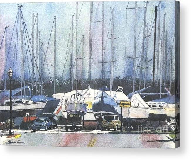 Landscape Acrylic Print featuring the painting Winter Blues, Sal Boats, Boating Paintings, Boat Paintings, Boat Prints by LeAnne Sowa