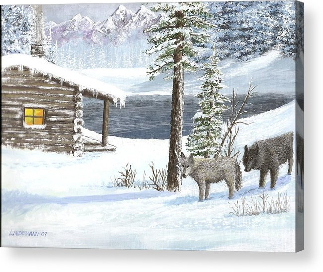Wolfs Acrylic Print featuring the painting Wolfs In Winter by Don Lindemann