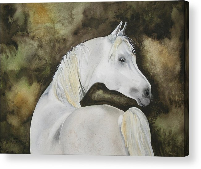 Horse Acrylic Print featuring the painting You Talking To Me by Jean Blackmer