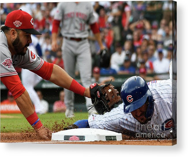 People Acrylic Print featuring the photograph Cincinnati Reds V Chicago Cubs 2 by David Banks