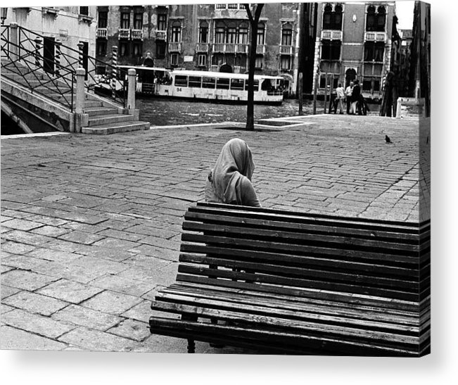 Vaporetto Acrylic Print featuring the photograph A Venetian Woman Alone In Venice, Italy by Elise Hardy