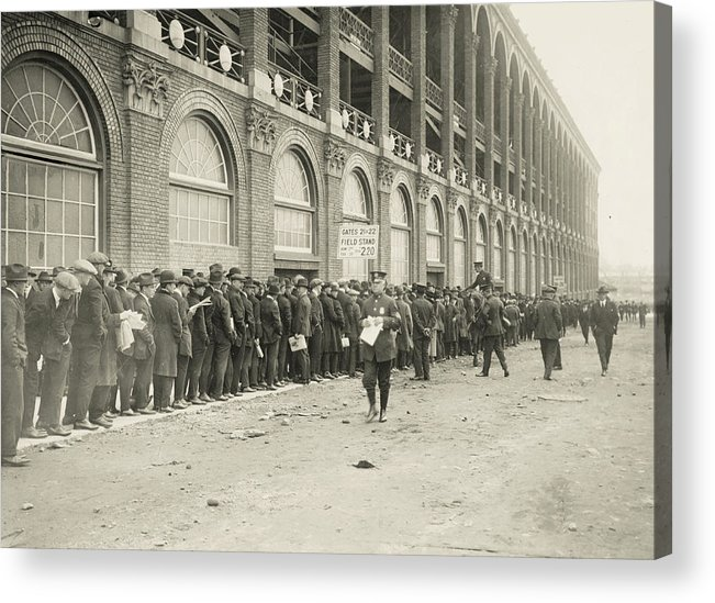 Horse Acrylic Print featuring the photograph Dodgers Fans In Line At Ebbets Field by Fpg