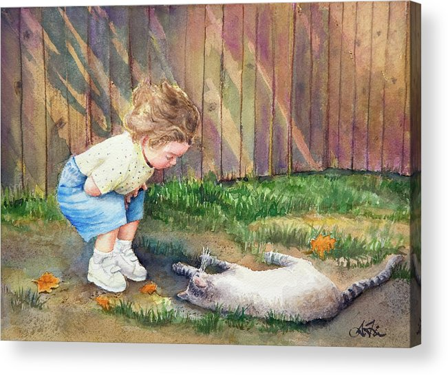 Child Acrylic Print featuring the painting Autumn Catnip by Arthur Fix