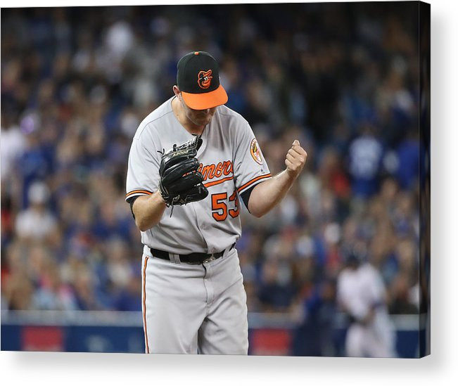 Three Quarter Length Acrylic Print featuring the photograph Baltimore Orioles V Toronto Blue Jays by Tom Szczerbowski