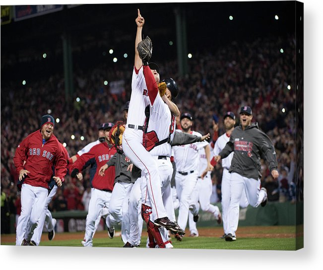Playoffs Acrylic Print featuring the photograph David Ross And Koji Uehara by Ron Vesely