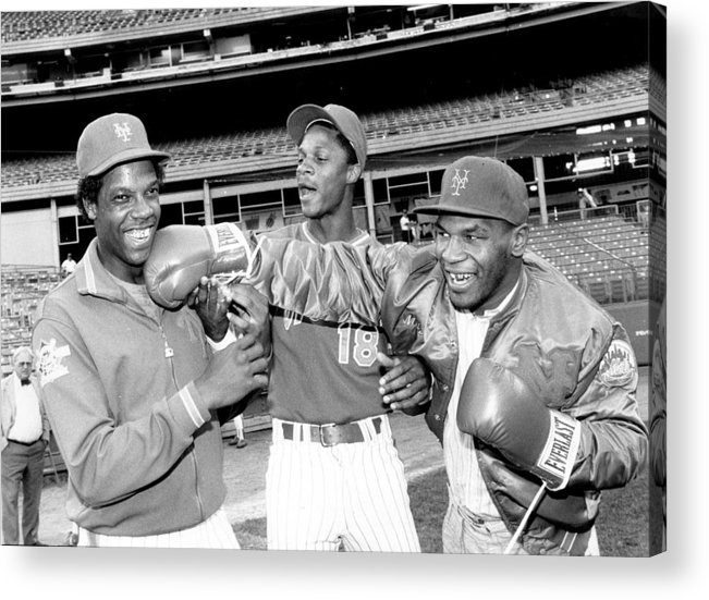 Event Acrylic Print featuring the photograph Dwight Gooden, Darryl Strawberry, And Mike Tyson by New York Daily News Archive