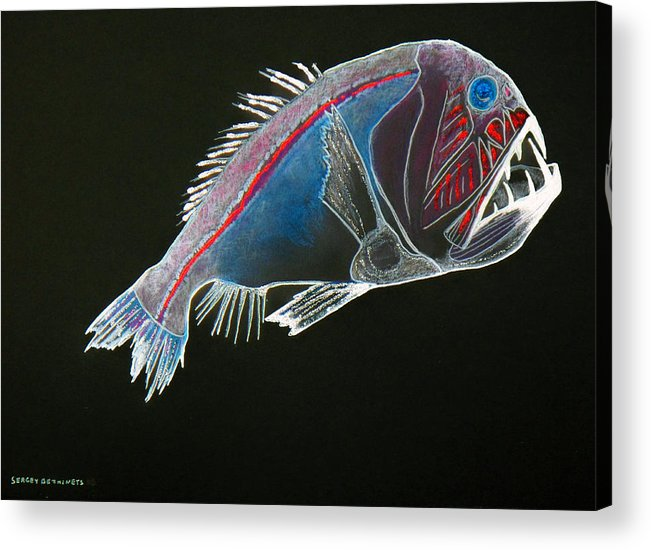 Fossil Acrylic Print featuring the drawing From The Abyss by Sergey Bezhinets