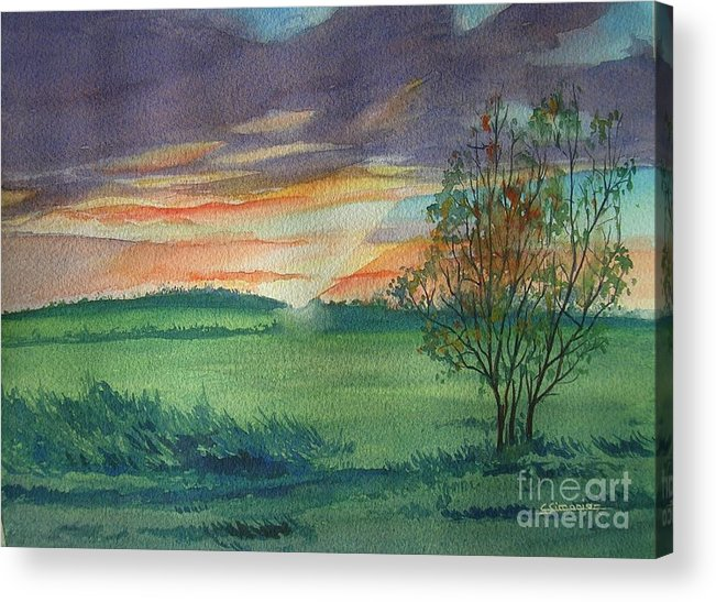 Watercolor Acrylic Print featuring the painting Sunset At Ceton by Christian Simonian