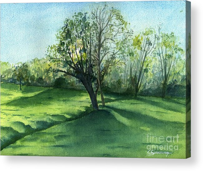 Forest Acrylic Print featuring the painting The Tree And The Ditch by Christian Simonian