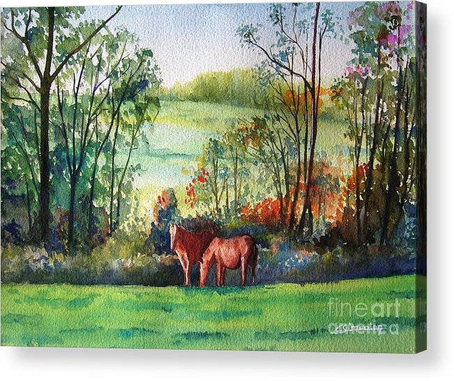 Horses Acrylic Print featuring the painting The Two Horses by Christian Simonian