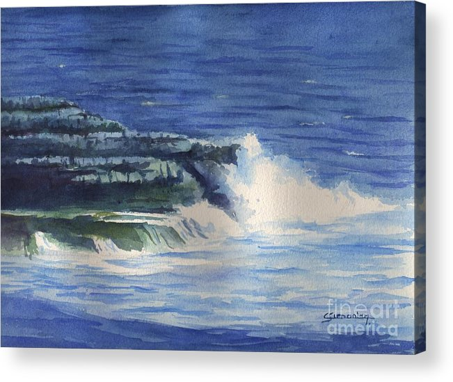 Wave Acrylic Print featuring the painting Wave Splash by Christian Simonian