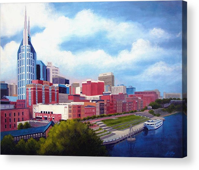 Nashville Acrylic Print featuring the painting Nashville Skyline by Janet King
