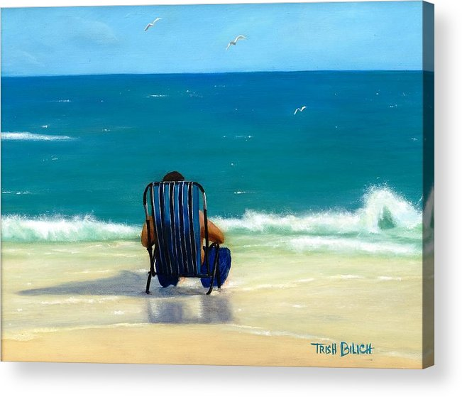 Ocean Acrylic Print featuring the painting Reflecting Thoughts by Trish Bilich