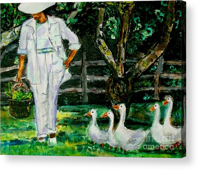 Acrylic Acrylic Print featuring the painting The Five Ducks by Helena Bebirian
