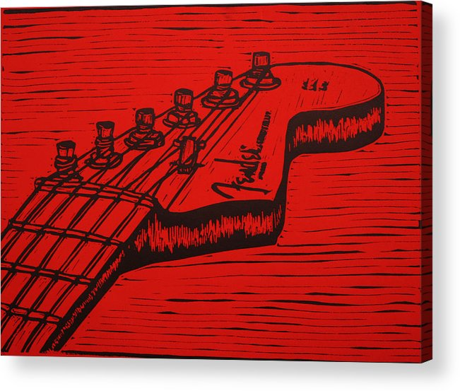 Fender Acrylic Print featuring the drawing Fender Strat by William Cauthern