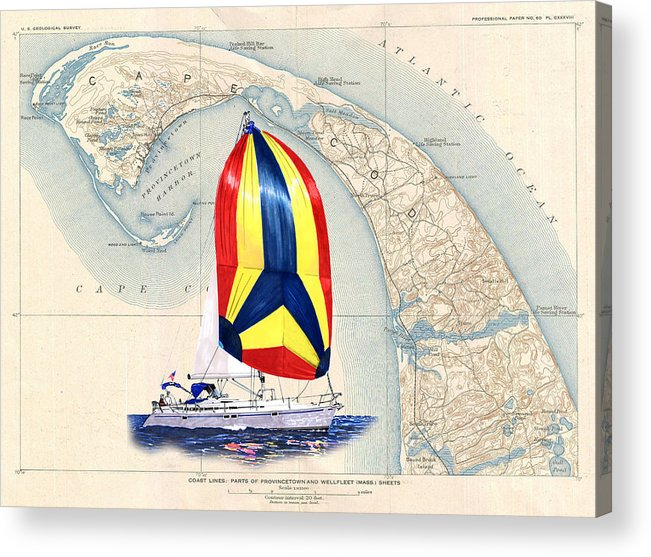 39 Beneteau Sailing On Old Cape Cod Acrylic Print featuring the painting 39 Foot Beneteau Cape Cod Chart Art by Jack Pumphrey