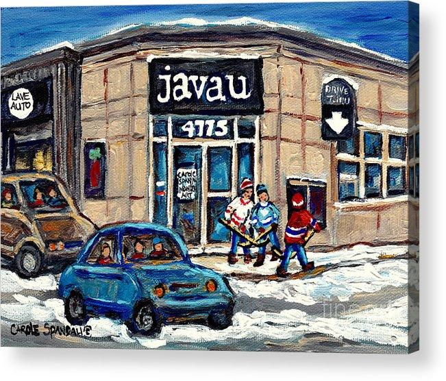 Java U Acrylic Print featuring the painting Montreal Art Exhibit At Java U Carole Spandau Montreal Street Scenes Paintings Hockey Art by Carole Spandau