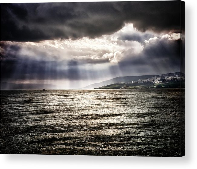 Acrylic Print featuring the photograph After The Storm Sea Of Galilee Israel by Mark Fuller