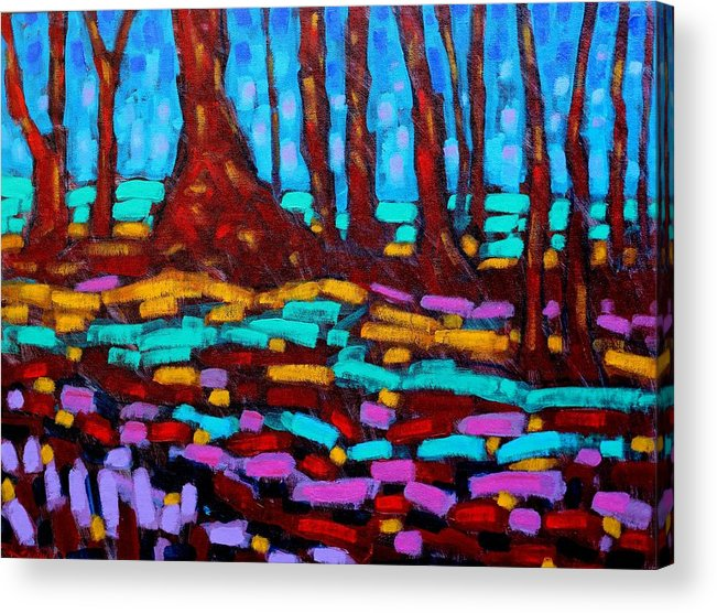 Abstract Acrylic Print featuring the painting Alizarin Woods by John Nolan