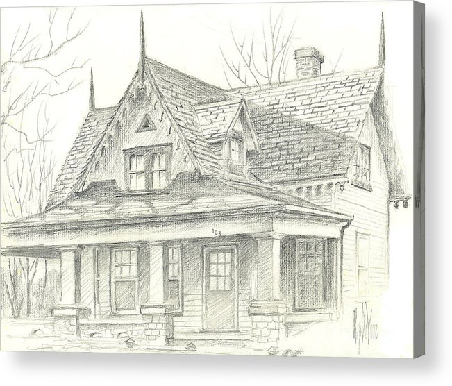 American Home Acrylic Print featuring the drawing American Home by Kip DeVore