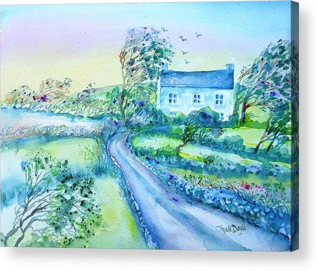 Windy Day Acrylic Print featuring the painting Another Windy Day On Cleare Island Ireland  by Trudi Doyle