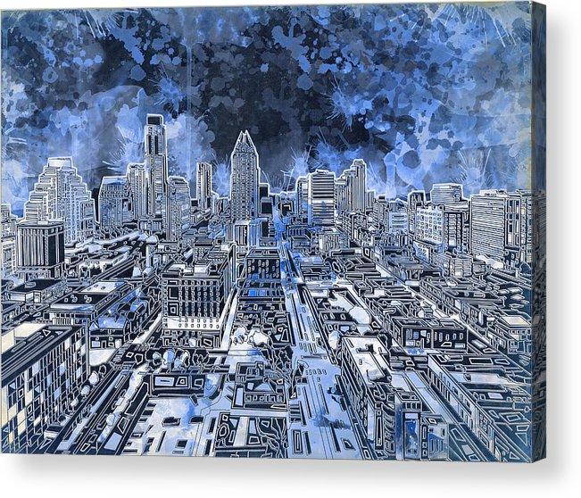Austin Texas Abstract Panorama 5 Acrylic Print by Bekim Art