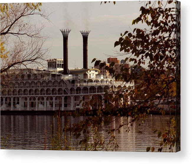 Steamboat Acrylic Print featuring the photograph Autumn American Queen by Wild Thing