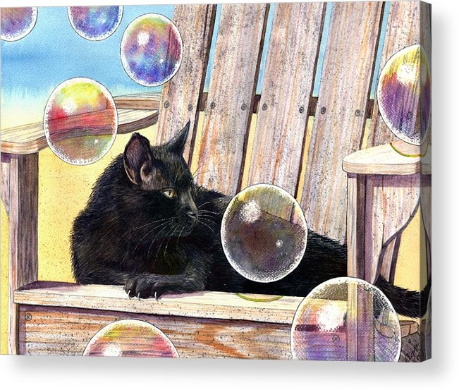 Cat Acrylic Print featuring the painting Basking In Bubbles by Catherine G McElroy