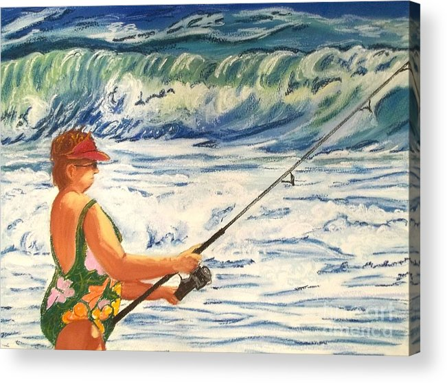 Figure Acrylic Print featuring the painting Big Momma Fishin' by Frank Giordano