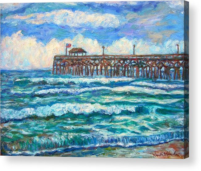 Shore Scenes Acrylic Print featuring the painting Breakers At Pawleys Island by Kendall Kessler