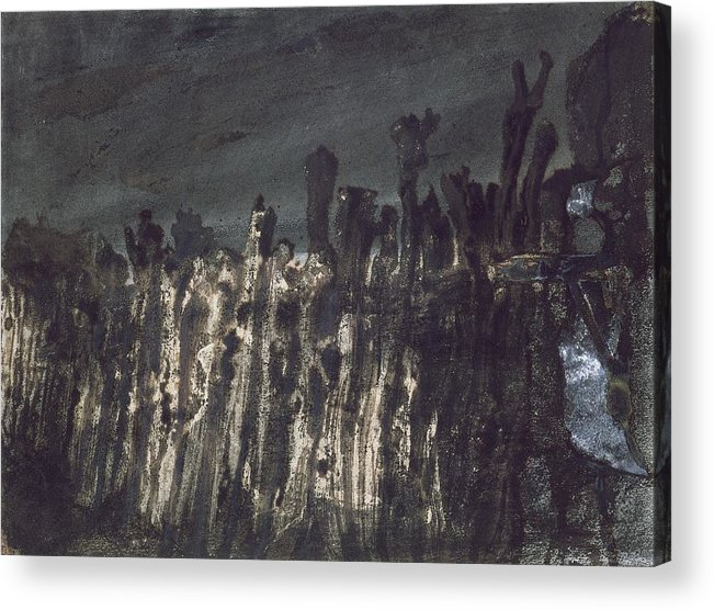 Wooden Posts Acrylic Print featuring the painting Breakwater In Jersey by Victor Hugo