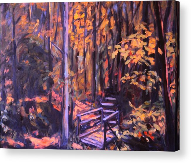 Woods Acrylic Print featuring the painting Bridge In Woods Near Pandapas by Kendall Kessler